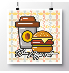 Food icons poster on a vintage pattern vector