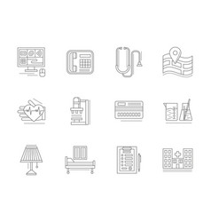 Private clinic flat line icons set vector