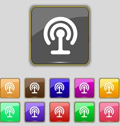 Wifi icon sign set with eleven colored buttons for vector