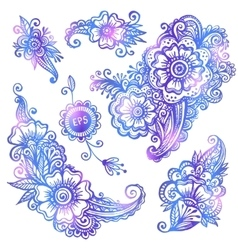 Blue hand-drawn flowers set vector