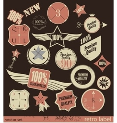 Set of premium quality and guarantee retro labels vector