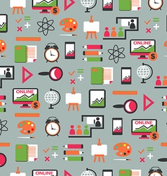 Seamless pattern with education equipment vector