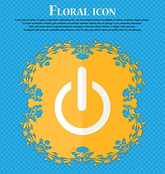 Power sign icon switch symbol floral flat design vector