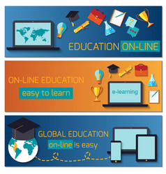 Web banner concept for online education vector
