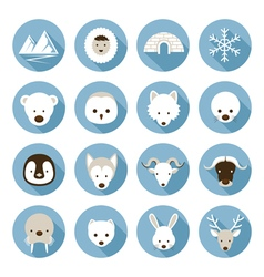 Arctic animals flat icons set vector