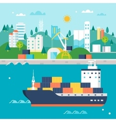 Container cargo ship and port vector
