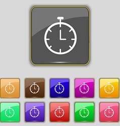 Stopwatch icon sign set with eleven colored vector