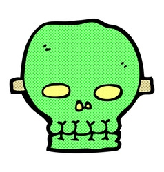 Comic cartoon spooky skull mask vector