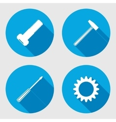 Screwdriver hammer wrench key icon bolt nut vector