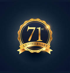 71st anniversary celebration badge label in vector
