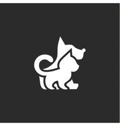 Cat and dog with a negative effect on the dark vector