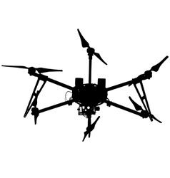 Black silhouette drone quadrocopter vector