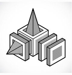 abstract isometric dimensional shape vector image