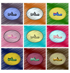 assembly flat shading style icons footwear shoe vector image vector image