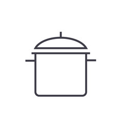 big pot line icon sign on vector image