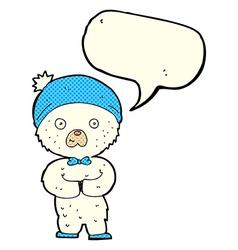Cartoon little polar bear with speech bubble vector