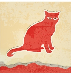 cat silhouette retro poster vector image vector image