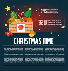 christmas wooden box with fruit and dessert infogr vector image vector image
