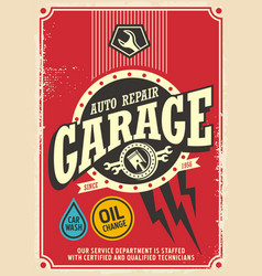 Classic garage retro poster design vector