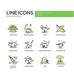 Dinosaurs species- line design icons set vector