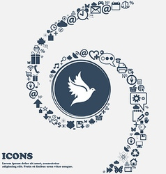 Dove icon sign in the center Around the many vector image vector image