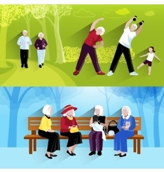 Elderly People Horizontal Banners Set vector image vector image