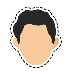 Faceless man with dark hair icon image vector