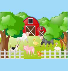 Farm animals living the farmyard vector