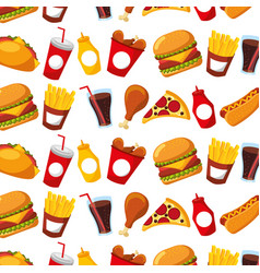 fast food menu restaurant seamless pattern design vector image