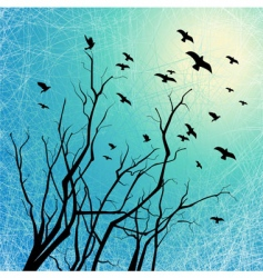 Flying birds and tree branches vector