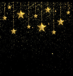 golden sparkling stars with golden confetti vector image vector image