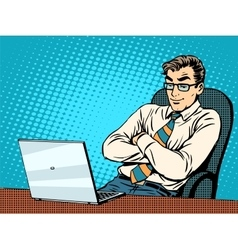 Good businessman at laptop vector image vector image