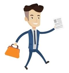 Happy businessman running vector image vector image