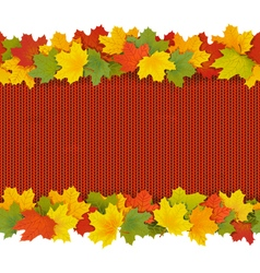 Knitted border with maple leaves vector