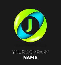 letter j logo symbol in the colorful circle vector image vector image