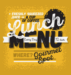 Lunch menu vintage influenced typographic poster vector