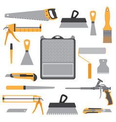 painting icons flat set with roller bucket brush vector image vector image