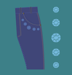 pattern rhinestone design jeans vector image