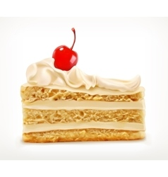 Piece of cake with cherry vector image vector image