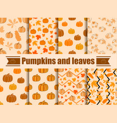pumpkins and leaves seamless pattern collection vector image vector image
