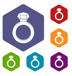Ring with gemstone icons set hexagon vector