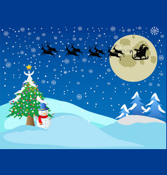 Santa across the snow night vector