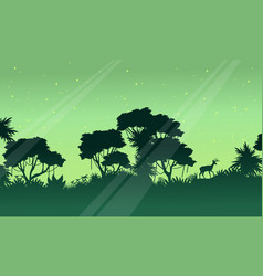 Scenery jungle on green background silhouettes vector