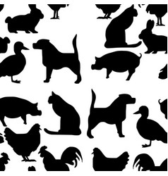 seamless pattern pets silhouette - vector image vector image