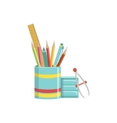 Set of school utensils in plactic cup vector