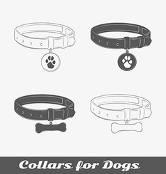 Silhouette collars for dogs vector image vector image
