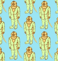 Sketch cute vintage diving suit vector