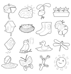 Spring things icons set cartoon outline style vector