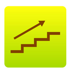 Stair with arrow brown icon at green vector