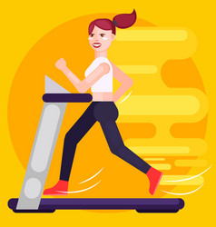 the woman is running on the treadmill speed vector image